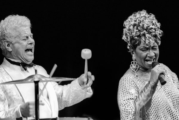 American jazz and salsa musician and band leader Tito Puente (1923 - 2000) (left) performs with Cuban-American salsa performer Celia Cruz (1925 - 2003) during their Jazz at Lincoln Center concert at Alice Tully Hall, New York, New York, December 12, 1992. (Photo by Jack Vartoogian/Getty Images)